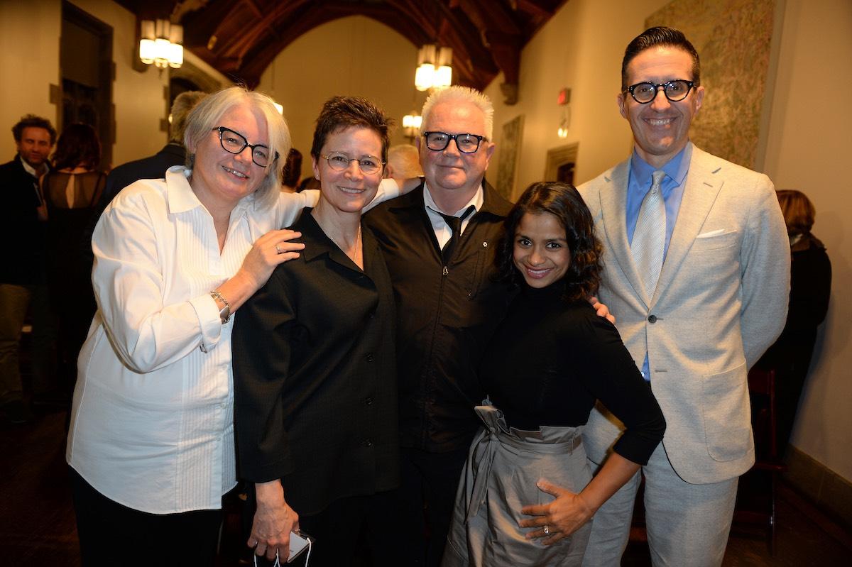 Co-hosts Jackie Maxwell & Ann-Marie MacDonald, Jury Chair Bob White, Past Protege Anusree Roy, University of Toronto Hart House Warden John Monahan